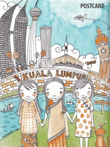 KL illustrated postcard by Emila Yusof