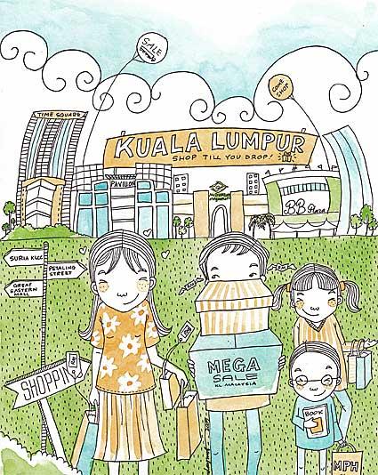 kl illustrated postcard v by emila yusof