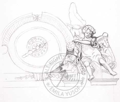 sketch of statue on top of St Peter's Basilica