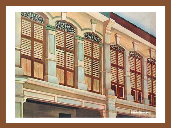 Painting for sale: Penang Shophouses
