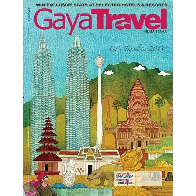 In retrospect: First cover I did for #GayaTravel magazine's first issue of 2013. #throwback #travel #magazine #Malaysia #illustration