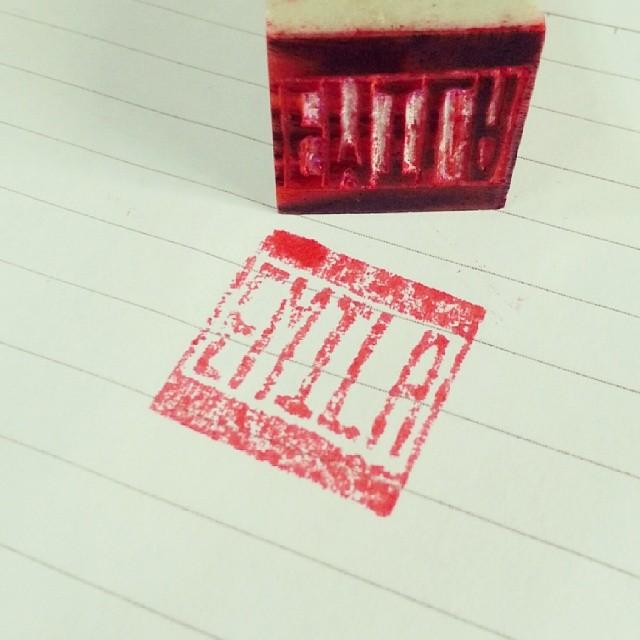 Emila stamp made in Shanghai.