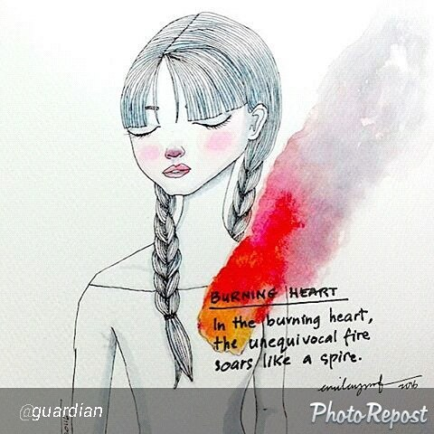 "Featured at @guardian. So happy! ""Burning Heart, an illustrated haiku by Emila Yusof. Happy #WorldPoetryDay! We want to see your handwritten poems - tag your photos with #IWroteThisPoem and we'll feature a selection throughout the day """