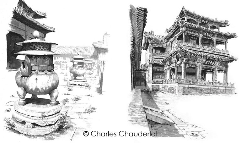 Inkwash paintings by Charles Chauderlot