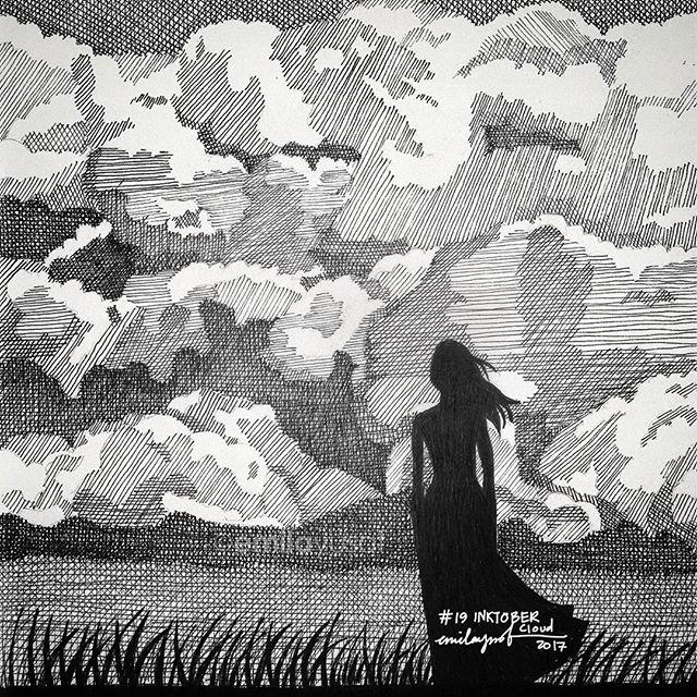 #Inktober: 19 Cloud. #inktobermalaysia #inktober2017 #sketchbook #drawingEngkaukah itu?Sang awan putih suciyang memendam halilintar?- Kumulonimbusku Em181017