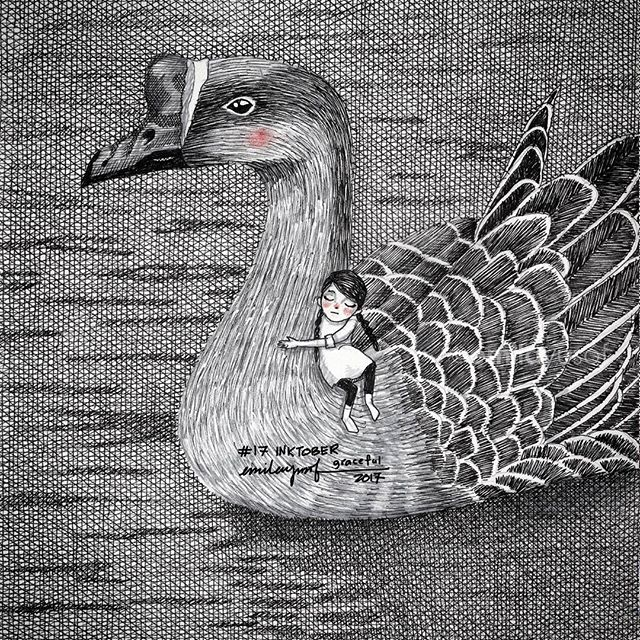 "#Inktober: 17 Graceful. #inktobermalaysia #inktober2017 #sketchbook #drawing #flashfiction #shortstoryThey glide gracefully on the pond. There were still silent. ""I hate goodbyes,"" the girl sobbed. ""I will always remember you as the girl who mended my wounded soul,"" the goose replied. ""If you ever come this way again...,"" she could not continue, her words faded into a stream of tears. She knew he will never come that way again. If only she had a pair of wings, she would have flown with him. - A girl and A Wounded Goose. #EmilaFlashFiction"