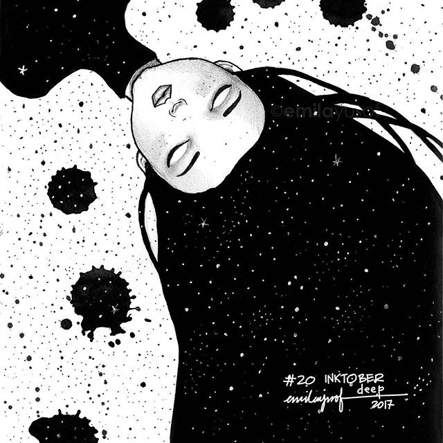 "#Inktober: 20 Deep. #inktobermalaysia #inktober2017 #sketchbook #drawing #EmilaFlashFictionShe fell into a deep sleep to find herself among the stars. She looked around but there was not much to do; so she counted the stars. She kept on counting until one day she heard a voice barely audible, ""Dear God, please bring her back to me."" ""One hundred billion,"" she said. She felt a pair of hands holding her hands firmly, sobbing while whispering, ""what is it, dear?"" ""The stars. There are one hundred billion stars in the milky way,"" she replied. ""Maybe more if I wander far."" -Coma. Em201017"